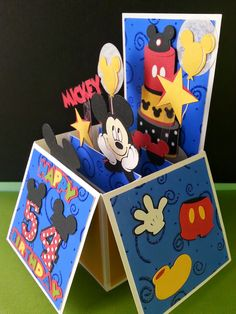 """Here is a box card that I made yesterday. The box card file is from SVGcuts. The die cuts are from """"Paper Piecing Pals"""" and the Cricut cartr. Christmas Scrapbook, Christmas Cards, Paper Crafts, Diy Crafts, Card Crafts, Tuxedo Card, Mickey Mouse Theme Party, Exploding Box Card, Disney Cards"""