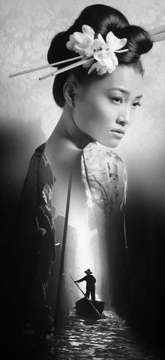 After meeting Devon, Akira imagines a life in America and never wants to return to Japan. Geisha Kunst, Geisha Art, Samurai Tattoo, Foto Art, Double Exposure, Belle Photo, Asian Art, Japanese Art, White Photography