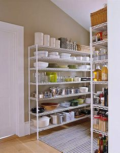 Image of the Barefoot Contessa's Wire Shelf Pantry............this will be my Pantry someday!!