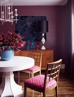 Suzie: Angie Hranowski - Chic purple dining room with plum walls paint color, vintage buffet, ...