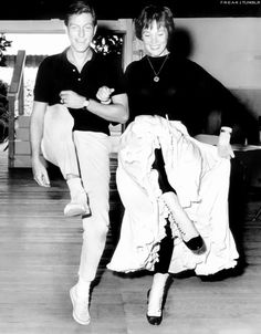 Dick Van Dyke and Julie Andrews in rehearsal for Mary Poppins