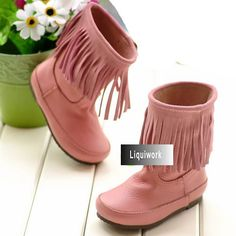 Little Teenage Girl Pink Italian Leather Winter Snow Boots Dress SKU-133006