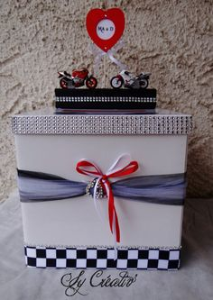 URNE THEME MOTO mariage, anniversaire par SY CREATIV'