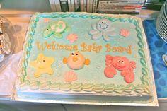 Ocean themed baby shower cake. so cute.