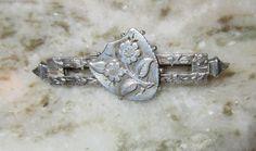 Victorian Era Hallmarked European STERLING Silver Shield/Flower PIN