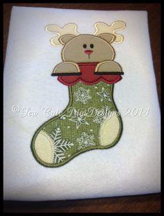 Santa's Reindeer Stocking  Applique Design  by SewCuteDigiDesigns