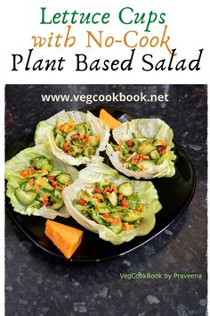 Lettuce Cups with No Cook Plant based Salad Lunch Box Recipes, Easy Salad Recipes, Easy Salads, Low Carb Vegetarian Recipes, Vegan Recipes, Cooking Recipes, Vegetarian Food, Deep Fried Recipes, Kid Friendly Meals