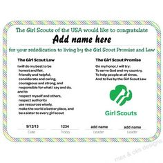 Girl Scout Multi-level troop rededication and investiture ceremony certificate with rainbow border. Downloadable PDF with editable fields. #girlscouts