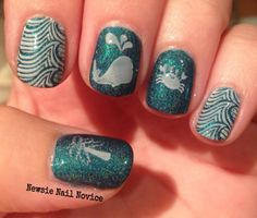 Colors By Llarowe In Another Dimension, Sea Life nail stamping featuring MoYou Sailor 04 plate and Winstonia 106 and 108 plates
