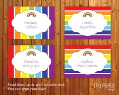 Rainbow graphic on food tents Rainbow Birthday Decorations, Rainbow Birthday Party, 2nd Birthday Parties, Party Food Labels, Party Printables, Art Party Foods, Rainbow Parties, Rainbow Food, Party Items