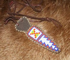 G. Fred Asbell Traditional Archery Small Eastern Beaded Knife Sheath