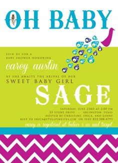 Peacock Baby Shower Invite. so cute. Wish I was having a small shower
