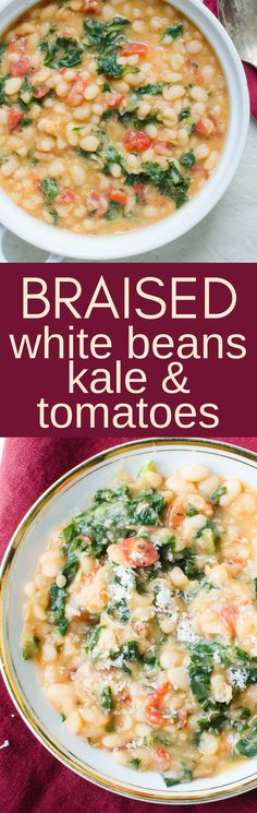 A dried navy bean recipe with kale, tomatoes and a spoonful of duck fat make this a healthy and indulgent side dish. Vegan and Vegetarian options too. Kale Recipes, Soup Recipes, Dinner Recipes, Cooking Recipes, Dinner Ideas, Vegetarian Options, Vegetarian Recipes, Healthy Recipes, Healthy Foods