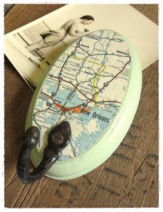 new orleans vintage map wall hook. by bee vintage redux.