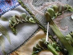 Allie's in Stitches Tutorial on how to stitch these ribbon leaves