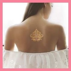 x henna inspired metallic temporary tattoo. Could be put on the back or on the wrist and combined with regular henna! Two tattoo sheets per pack. Size: 4 x 4 Made In: United States Shipped From: United States Lead Time: 1 - 2 Days Gold Henna, Gold Tattoo, Metal Tattoo, Beautiful Henna Designs, Beautiful Tattoos, Henna Tattoo Designs, Mehndi Designs, Henna Designs Back, Body Art Tattoos