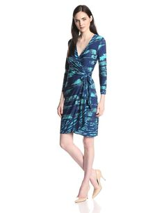 BCBGMAXAZRIA Women's Alberta Wrap Dress at Amazon Women's Clothing store: