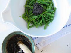 Making Green Bean Black Sesame Goma-Ae
