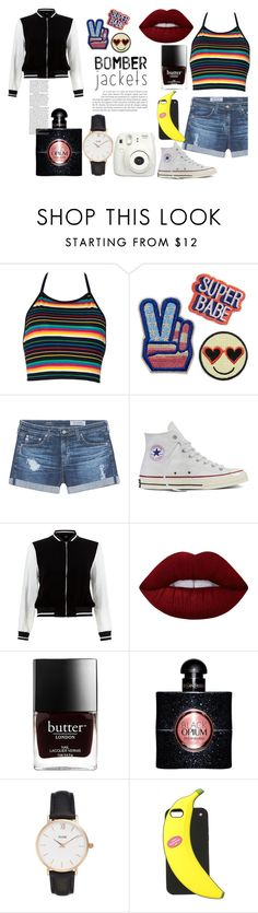 Boomber's by bertastoneez on Polyvore featuring moda, New Look, AG Adriano Goldschmied, Converse, CLUSE, Kate Spade, Lime Crime, Yves Saint Laurent and Fujifilm
