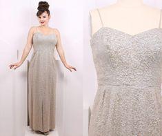 Vintage 1950's Iridescent Gray Sequins Evening Gown