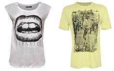 T-shirt com estampa de boca - R$ 59,90 T-shrit caveira - R$ 59,90