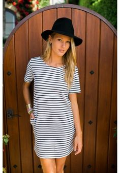 Abree Dress | E's Closet Boutique black and white, striped, tshirt dress, fashion, style, casual, sleeved, stripes, wardrobe