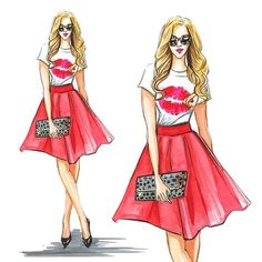 Fashion sketch of fashion blogger kateireneblue. Tee from T&J design. Fashion illustration by Rongrong DeVoe by watercolor.