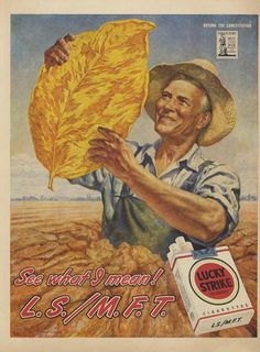 Items similar to 1945 Lucky Strike Cigarettes Ad Tobacco Leaf Farmer Farming Art Illustration Vintage WWII Era Advertisement Print Farmhouse Bar Wall Print on Etsy Vintage Advertising Posters, Creative Advertising, Advertising Signs, Vintage Advertisements, Vintage Ads, Vintage Posters, Vintage Paper, Cigarette Quotes, Vintage Cigarette Ads