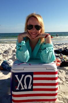 A girl should have two things for the beach: a PFG and a painted cooler. TSM.