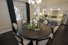 Dining Room ~ Love round tables & these chairs are luscious!