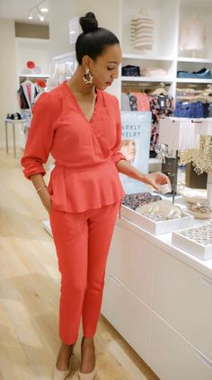 d8c0a1a0a7 DC Stylist Lana Jackson LOFT Holiday Style The Storied Life Blog  #TheStoriedLife monochromatic outfit LOFT Ruffle Wrap Blouse Slim Tie Waist  Pencil Pants in ...