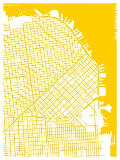 The Harbinger Co. — Yellow Silk-Screen Printed Map of San Francisco