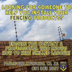 Looking for someone to help you install your fencing product?  Ensure you contact a professional who knows how to hire skilled labour! paul@obelixfencing.co.za    #noscablabour #nobakkiebrigade  #professional #electricfence #origional  #ObelixFencing Gate Motors, Barbed Wire, Looking For Someone, Social Media Design, Fencing, Fences