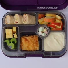 Ham and Hummus Wrap, Cheese, Celery, Apple, Chocolate Croissant, Yoghurt and Mini Marshmallows. Served in Yumbox Original - Leakproof Bento Lunch Box Head to ourfacebook pagefor daily b...