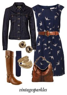 """""""Fall Swallow Dress"""" by vintagesparkles78 ❤ liked on Polyvore featuring Zara, Poem, Lauren Ralph Lauren, Coach, Tory Burch, Levi's and SunaharA"""
