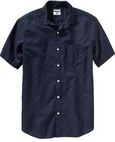 Men's Regular-Fit Linen-Blend Shirts