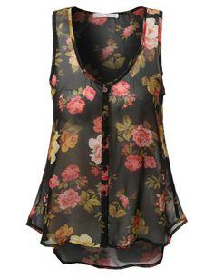 LE3NO Womens Loose Sheer Chiffon Floral Print Tank Top