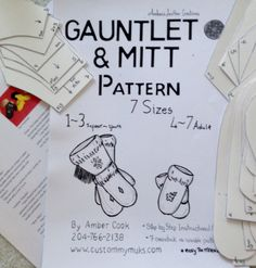 Gauntlet & Mitts ~ Step by Step Instructional Guide Easy reusable cardstock Patterns includes 7 sizes from infant to mens XL by CustomMyMuks on Etsy How To Make Wraps, Sewing Crafts, Sewing Projects, Sewing Ideas, Couture Cuir, Leather Gauntlet, Beaded Moccasins, Leather Moccasins, Mittens Pattern