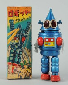 """Japanese Tin Litho """"Cone Head"""" Robot. : Lot 577 n original box. Wind - up. Made in Japan by Yonezawa. Extremely rare box, only a few examples known. Japanese writing on top. Beautiful depiction of robot, complete, no tearing but does have some creasing throughout. Robot itself has some scratching to left side of back. Condition (Excellent). Size 9"""" .Estimate$8,000 – $12,000 Starting Bid$2,000"""
