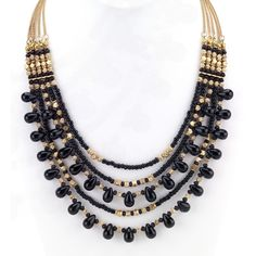 Viktoria Hayman Multi-Strand Beaded Statement Necklace 0kV5KW