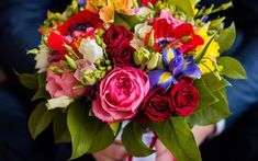 Download wallpapers wedding bouquet, multicolored flowers, eustoma, irises, roses, bridal bouquet