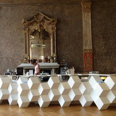 delicious contrast of modern and period. very dramatic! Bar at Gaiet Lyrique, Paris