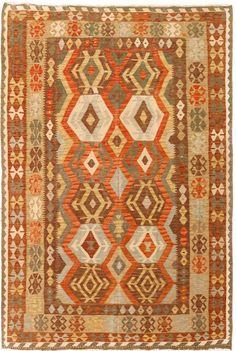 """Alfombra Kilim Herat. Kilim Herat. Kilim anudado a mano con lana autóctona por las tribus """"turkemanas"""" en el norte de Afganistán. Los diseños utilizados son bellas estilizaciones de formas tradicionales como el """"boteh"""", octogonos, rombos engarzados... Kilims, Lana, Rugs, Home Decor, Kilim Rugs, Norte, Shapes, Farmhouse Rugs, Decoration Home"""