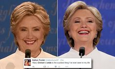 The Democratic candidate faced a flood of insults as she took to the stage at the University of Las Vegas, with many viewers confessing they were 'creeped out' by her stubborn grin.