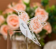 Laser Cutting Love Birds Place Cards for Wedding