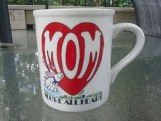 Collectible Papel Brazil- Mom Your All Heart Mug Porcelain White & Red Vintage #Papel #MothersGift