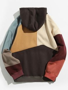 Colorblock Sewing Patchwork Fleece Hoodie - Khaki M Best Hoodies For Men, Stylish Hoodies, Hoodie Outfit, Fleece Hoodie, Online Clothing Stores, Diy Clothes, Color Blocking, Menswear, Fashion Outfits