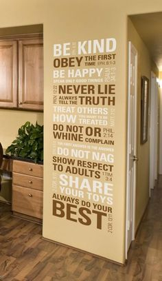 "Scripture House Rules Wall Decal   I want mine in Metallic Gold and Harvest Gold for an egg shell wall color 18""W61""L $80 by graciela"