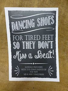 c0a19518d Details about PERSONALISED dancing shoes WEDDING SIGN flip-flop tired feet  chalkboard VINTAGE