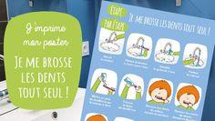 Un poster pour encourager l'autonomie et aider votre loulou à se brosser les dents, étapes par étapes, sans rien oublier !